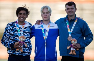 Silver Medalist Gustavo Agustin Osorio ARG, Gold Medalist Topias Laine FIN and Bronze Medal Martin Florian CZE on the Podium after the Athletics Mens Javelin Throw at the Athletics Field, Youth Olympic Park. The Youth Olympic Games, Buenos Aires, Argentina, Tuesday 16th October 2018. Photo: Gabriel Heusi for OIS/IOC. Handout image supplied by OIS/IOC